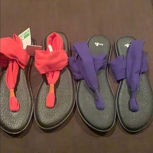 Sanuk yoga sling 2 pinstripe Sandals size 10